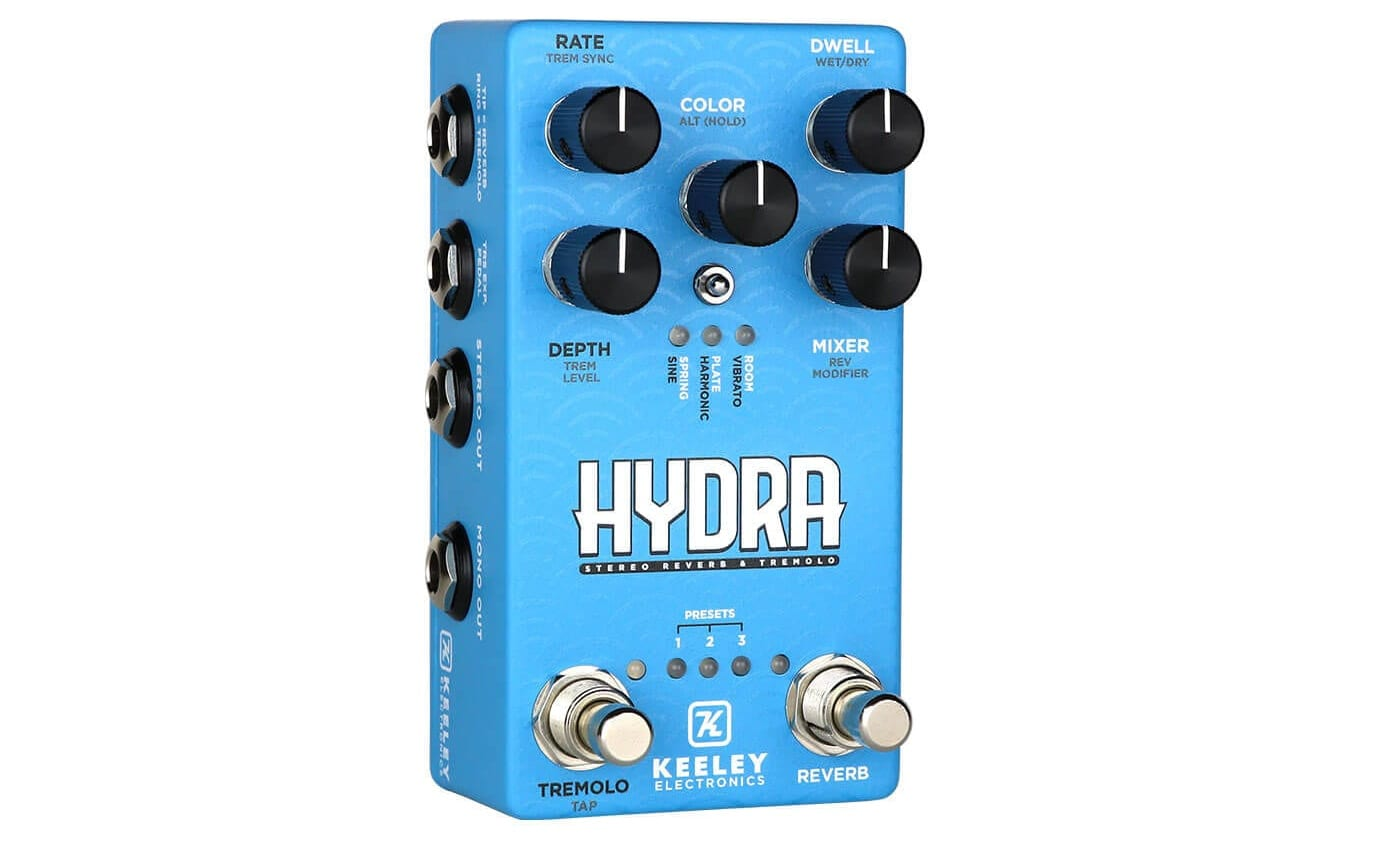 Keeley Hydra Stereo Reverb & Tremolo tiene una práctica entrada de pedal de expresión