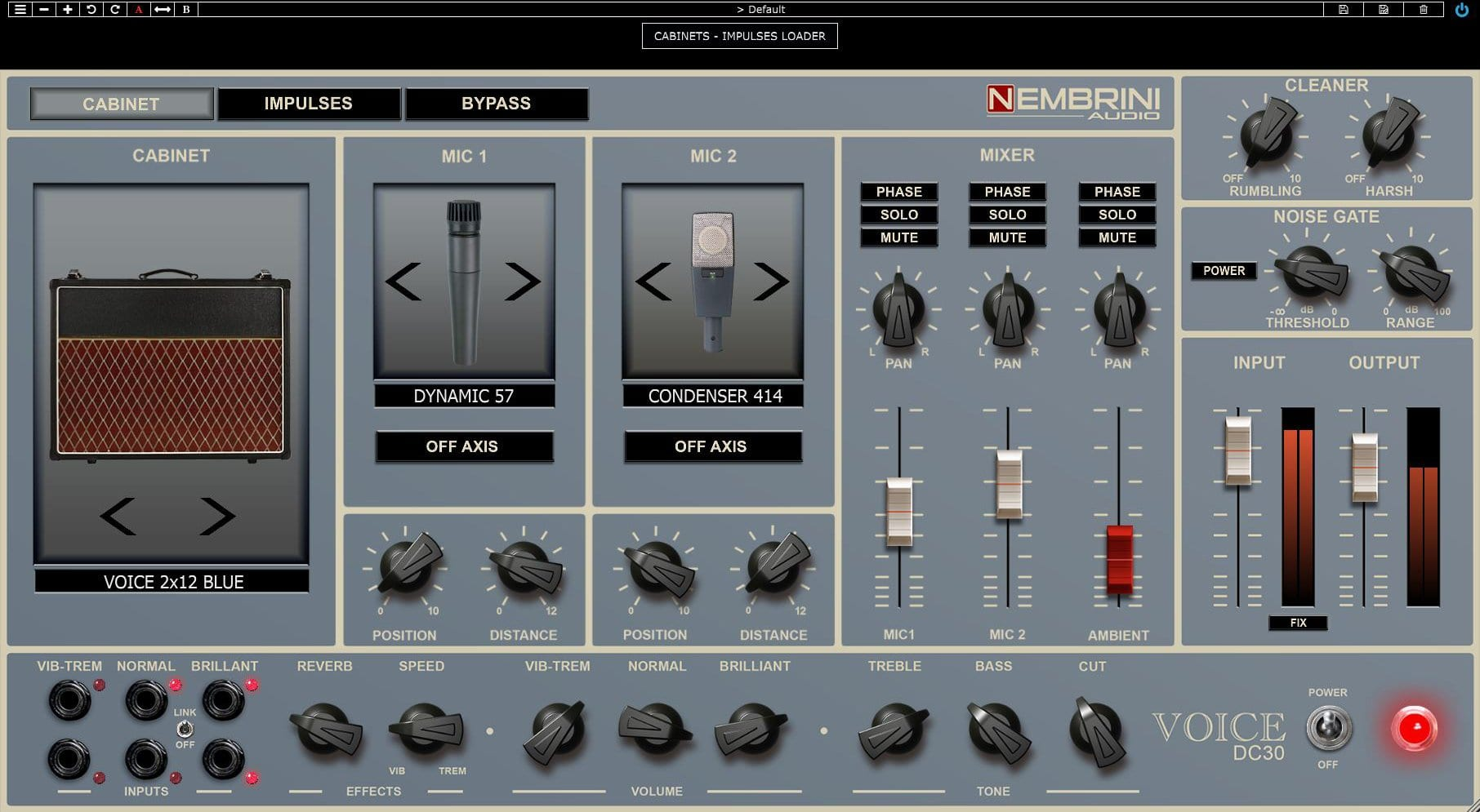 Pantallas, IRs y micrófonos del Nembrini Audio Voice DC30 Valve Guitar Amplifier