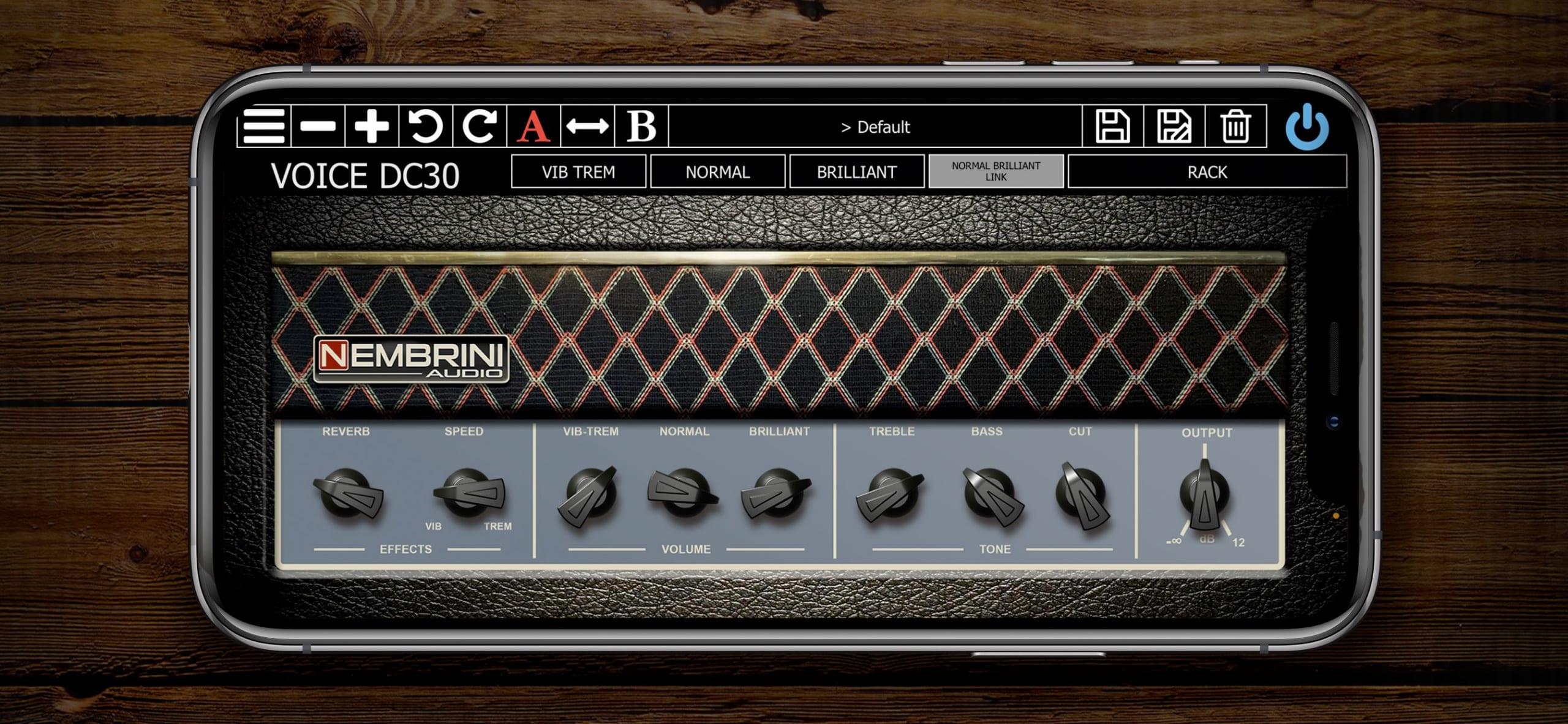 Nembrini Audio Voice DC30 Valve Guitar Amplifier Versión para iPhone:iPad