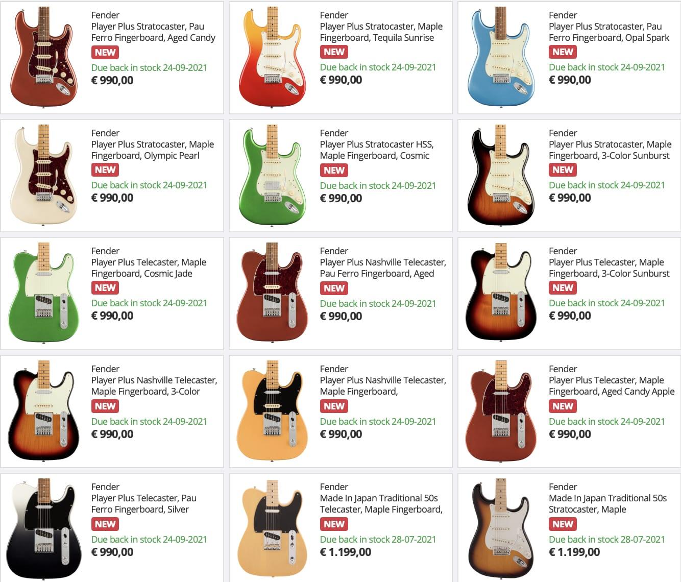 Filtración: Fender Player Plus Series