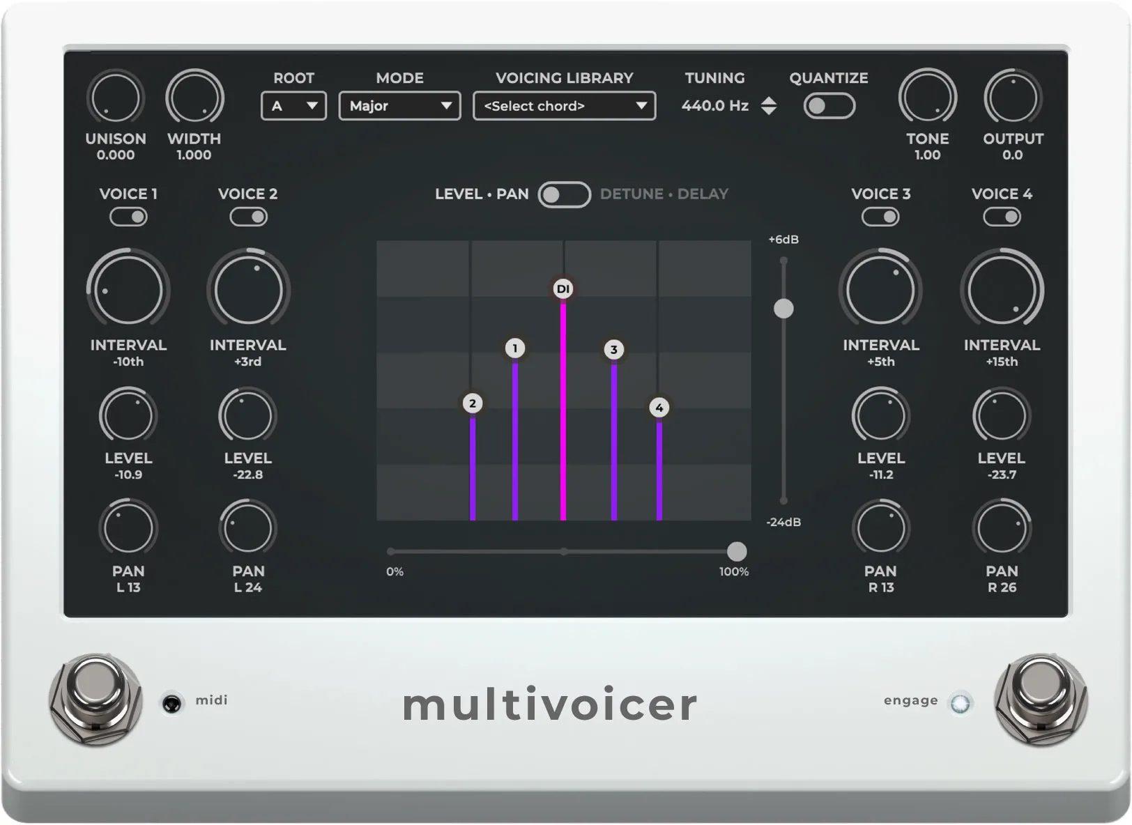 El algoritmo Multivoicer te permite añadir 4 voces pitch-shifted sobre tu señal