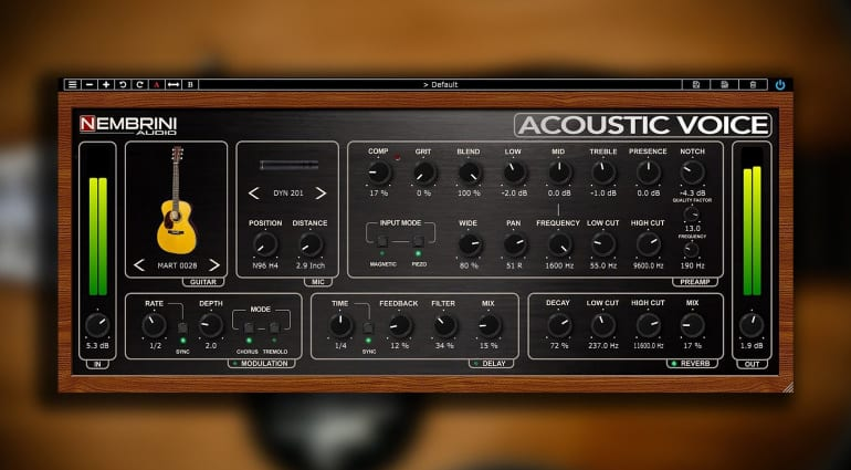 Nembrini Audio lanza el plugin de guitarra Acoustic Voice