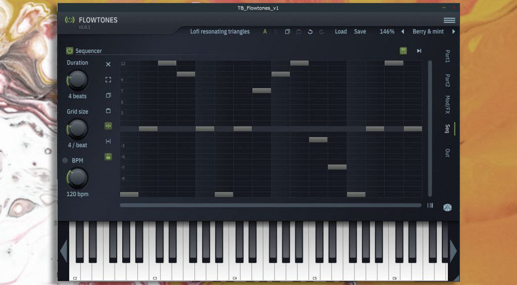 ToneBooster Flowtones Step Sequencer page